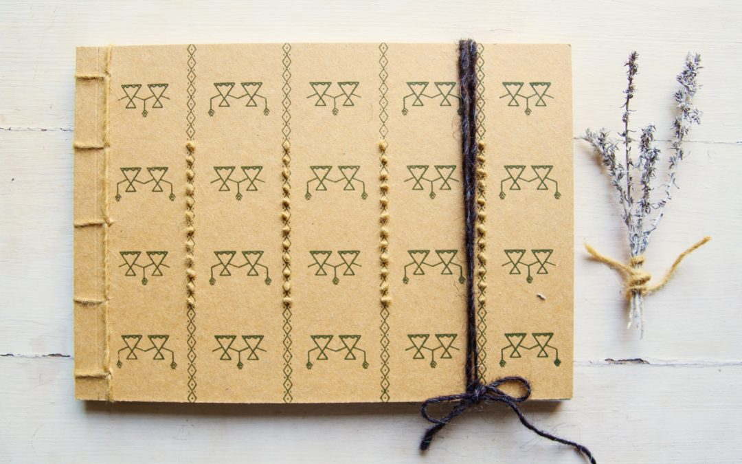 Janas notebook, Enbroidery on paper